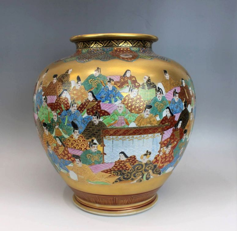 九谷龍山作 百人一首図花瓶
