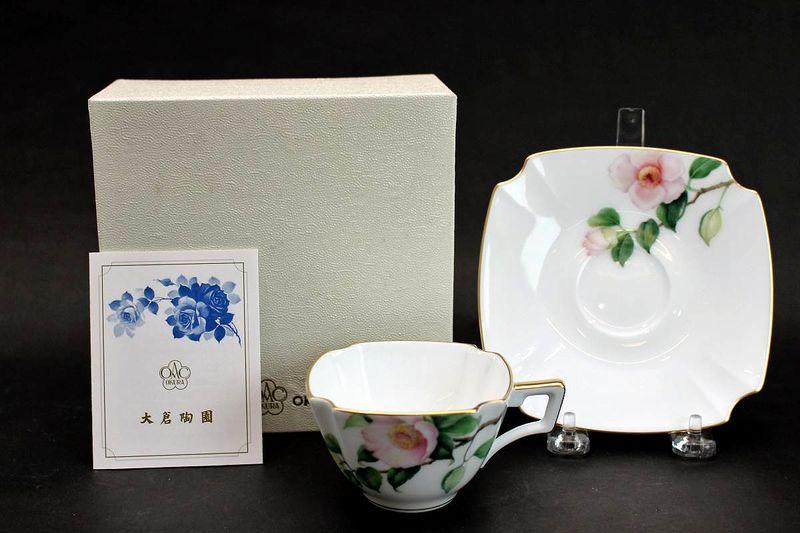 大倉陶園 手描き茶花シリーズ 白椿カップ&ソーサー