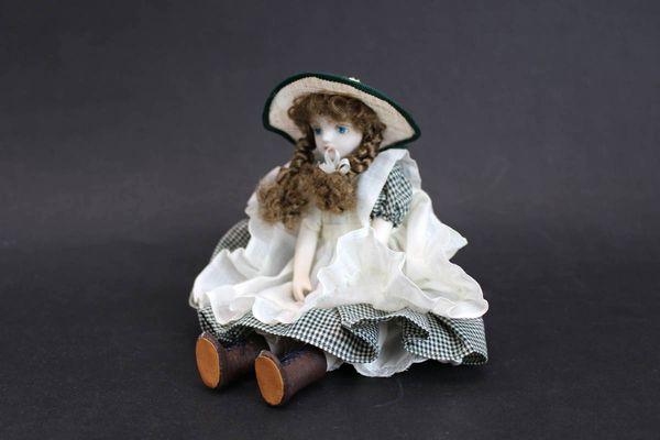 若月まり子 ビスクドール 麦わら帽子の少女23cm