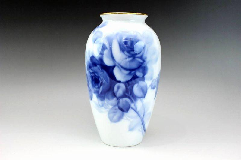 大倉陶園 ブルーローズ花瓶 23cm