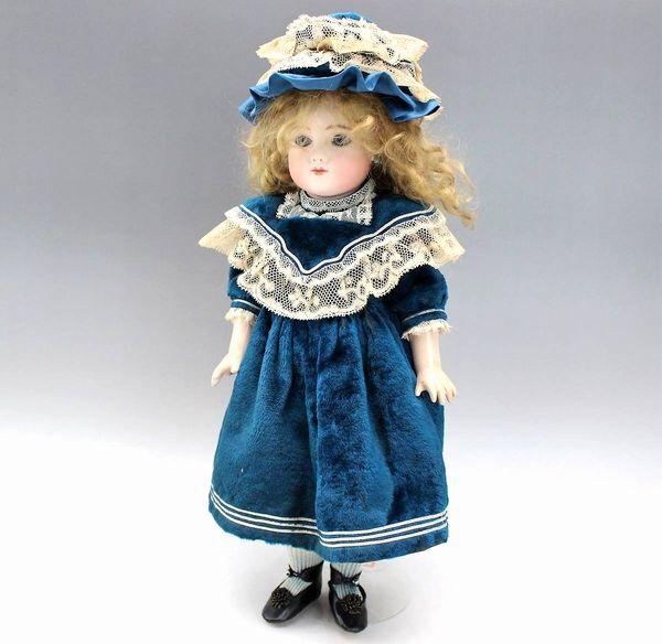 古関くに子 青いドレスのビスクドール 47cm
