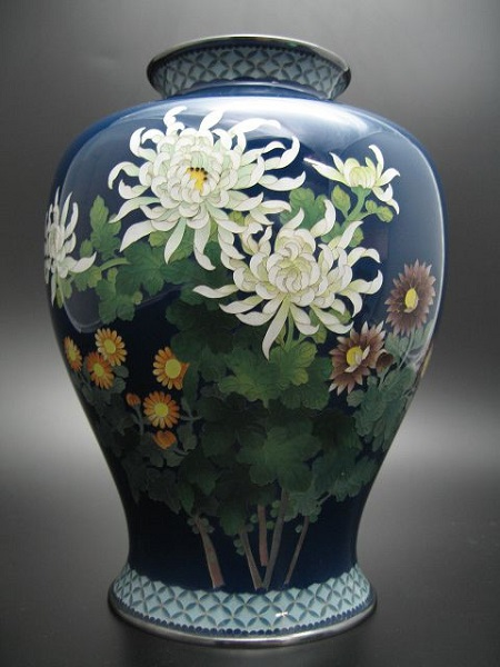 安藤七宝製 菊花図花瓶