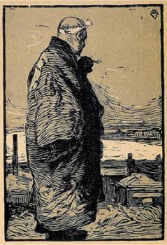 「漁夫(木版画)」山本鼎