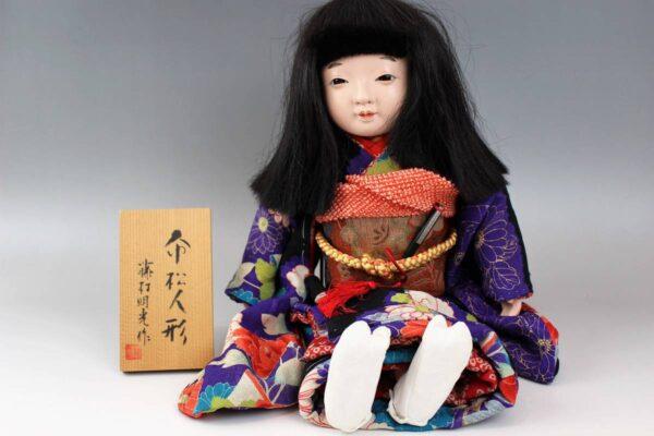 藤村明光の市松人形 紫着物の女の子 44cm