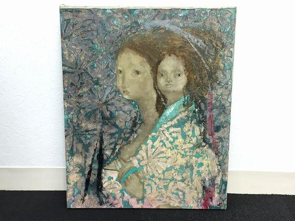 井原一郎作油彩画 「母と子」