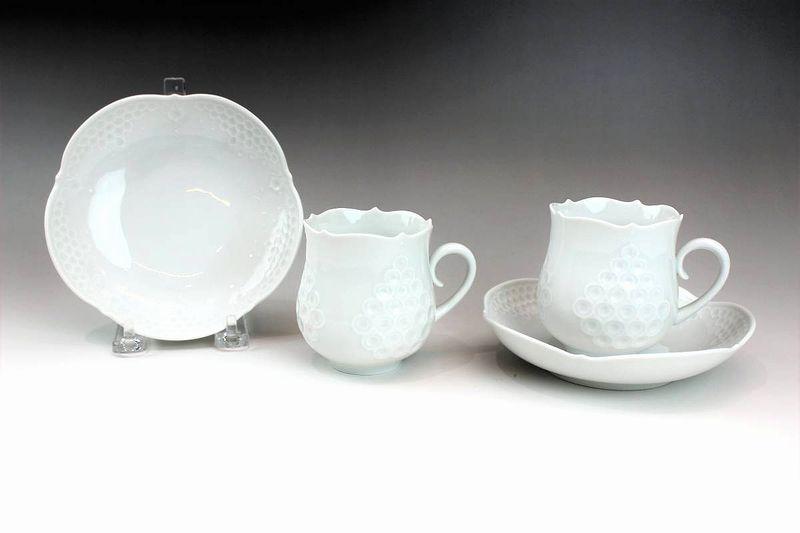 マイセン ホワイトレリーフ ペアコーヒーカップ&ソーサー
