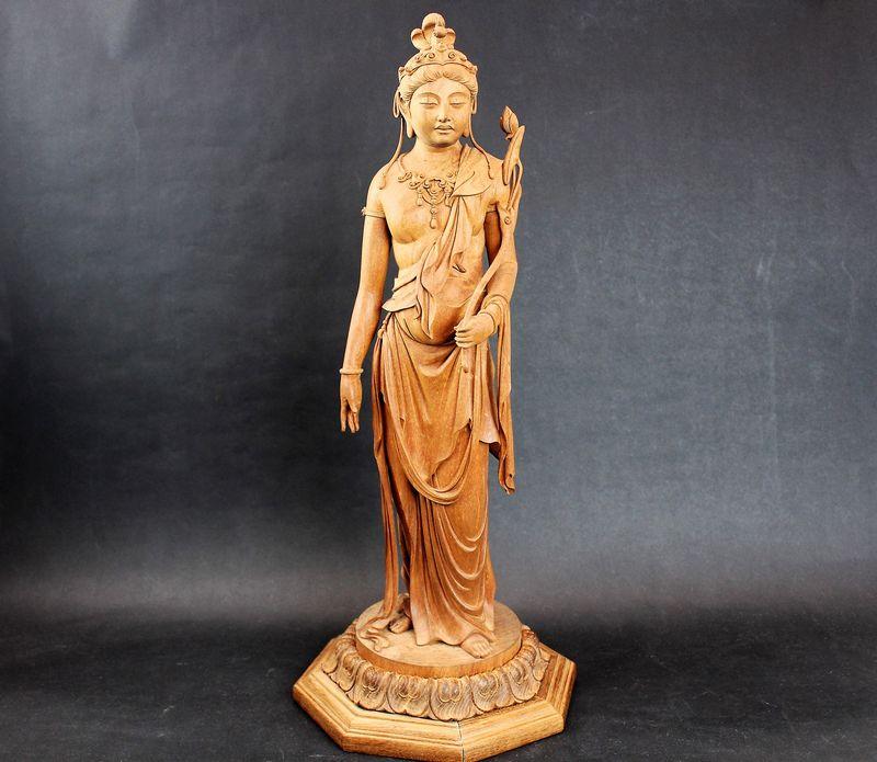 高村光雲作 木彫聖観世音菩薩立像