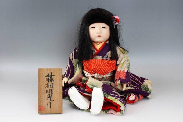 藤村明光の市松人形 紫縮緬着物の女の子 38cm