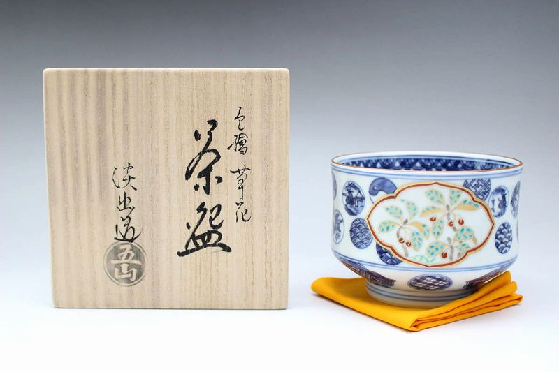 京焼五山窯 林淡幽作 色絵草花茶碗