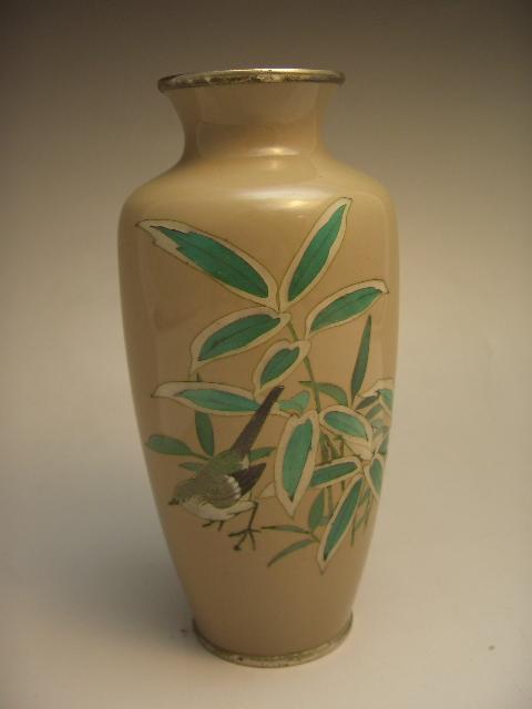 七宝焼 竹に雀図花瓶