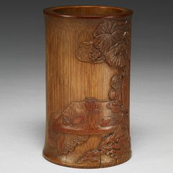 清代 竹彫筆筒