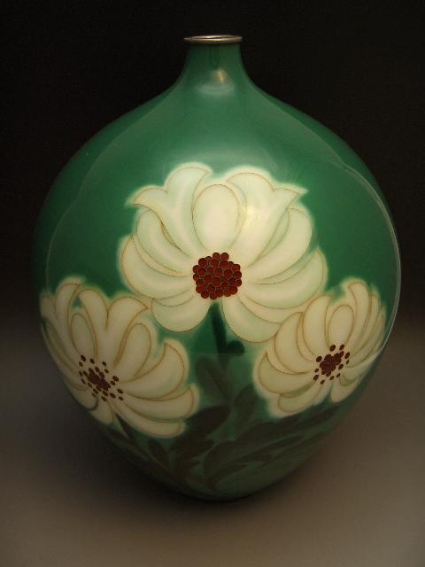 七宝焼 緑釉花器