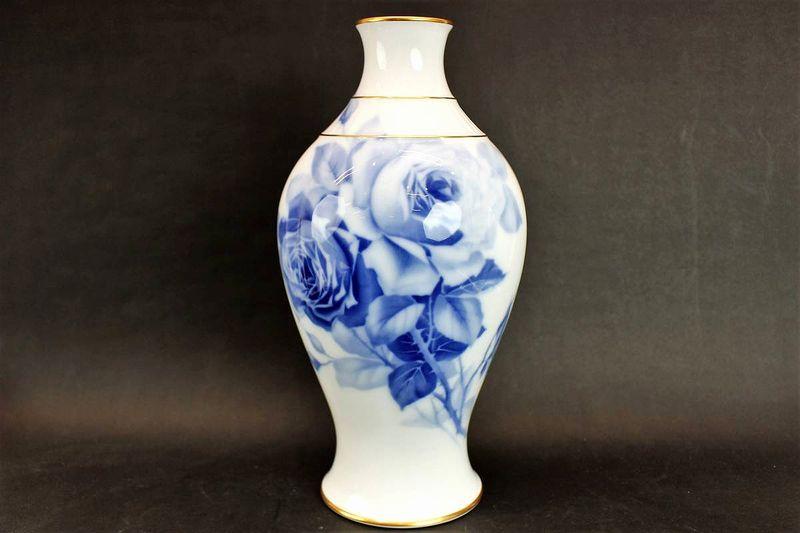 大倉陶園 ブルーローズ花瓶 35cm