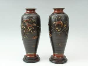 明治工芸 銅製金銀象嵌花瓶一対