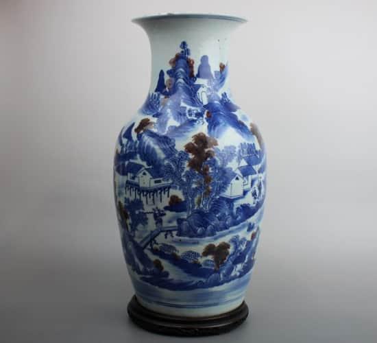 中華民国期・染付大花瓶