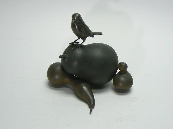 銅製・瓢箪に雀の置物