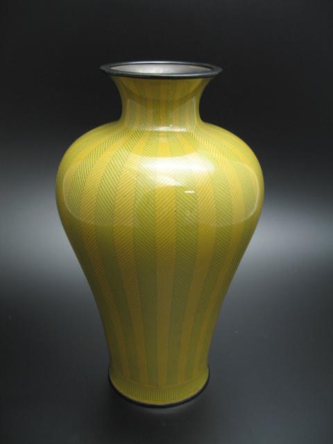 林八左衛門作 七宝焼銅壷網代模様花瓶