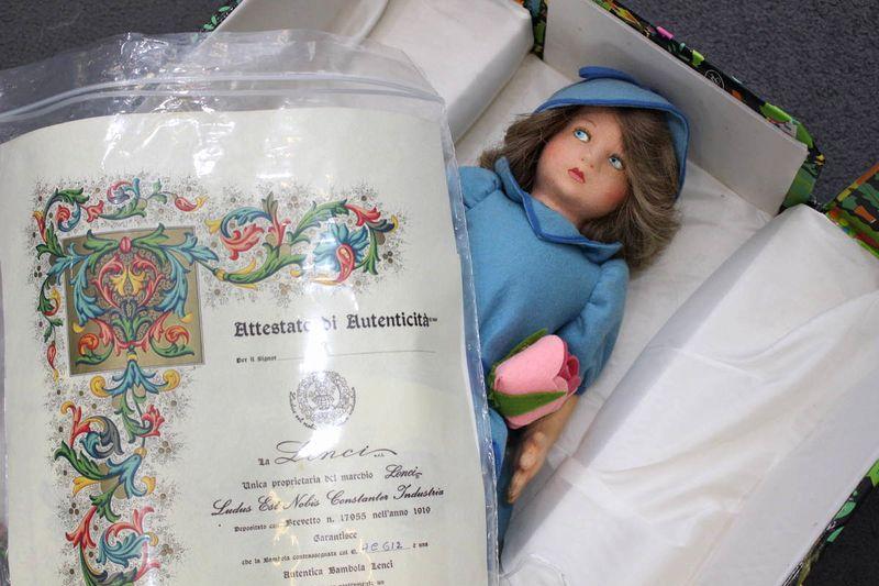 レンチドール 青いワンピースを着た女の子 43cm