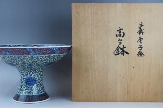 村上玄輝の「染錦唐子絵高台鉢」