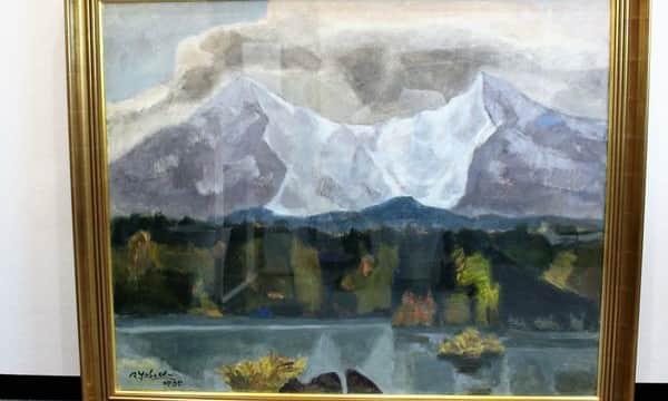 矢橋六郎作 油彩風景画 『山脈 湖畔』