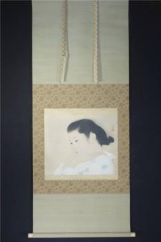 美人画掛け軸 広田多津『髪』