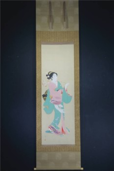 三木翠山 桜花美人図掛け軸