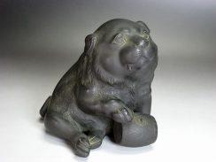 銅製子犬置物