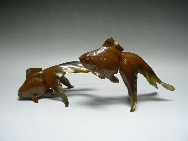 渡辺紫鳳作 銅製双金魚置物