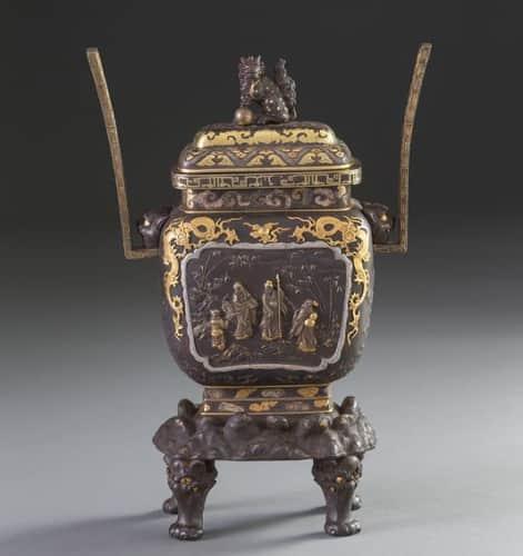 明治工芸 銅地金象嵌香炉