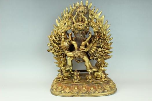 大威徳明王鍍金仏像