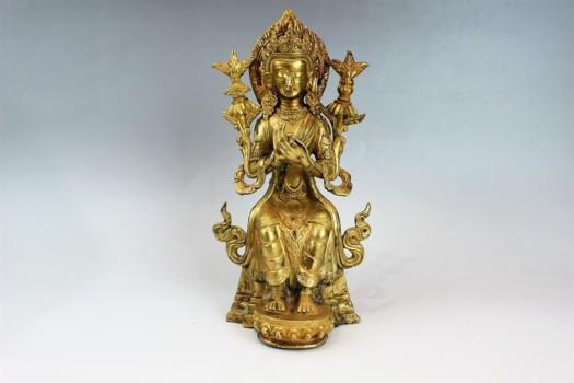 仏像 鍍金観音座像
