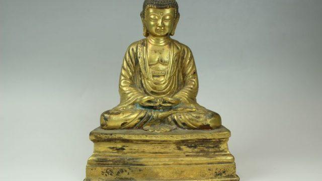 古銅鍍金釈迦牟尼坐像