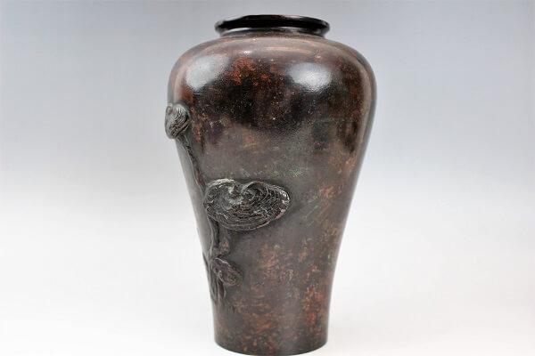 東都岩井造紫雲刻 斑紫銅霊芝盛上花瓶