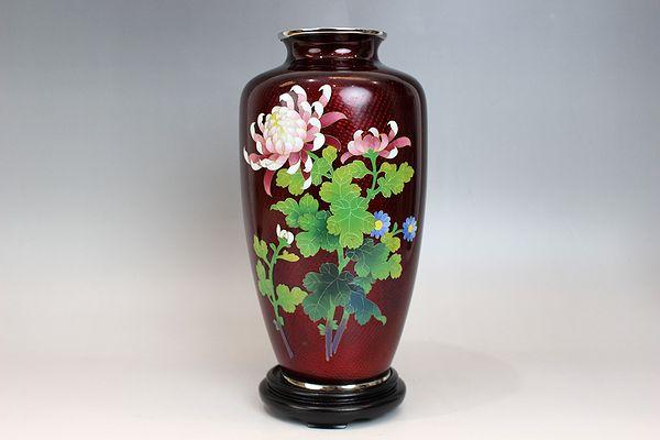 七宝焼 赤地梅木菊花文花瓶