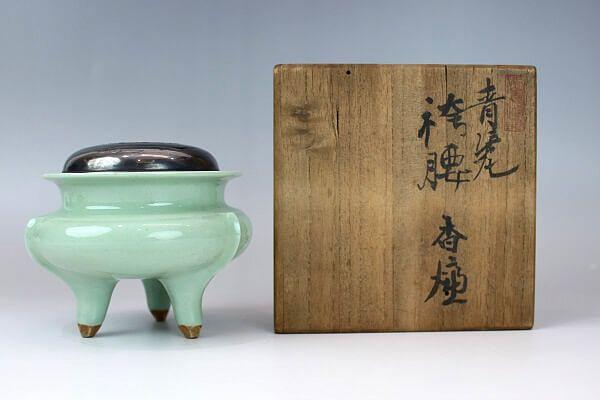 初代諏訪蘇山 青磁袴腰香炉
