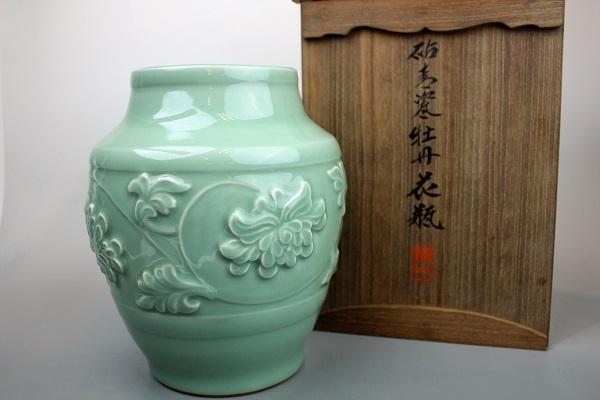 二代目加藤渓山作 砧青磁牡丹花瓶