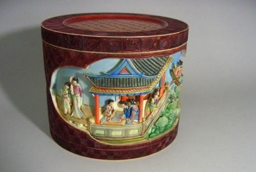 清時代 象牙彫刻蓋物
