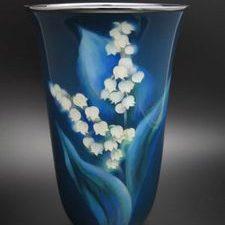 安藤七宝製 スズラン図花瓶