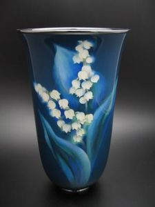 安藤七宝製 鈴蘭図花瓶