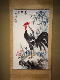 傅法作の鶏図掛軸