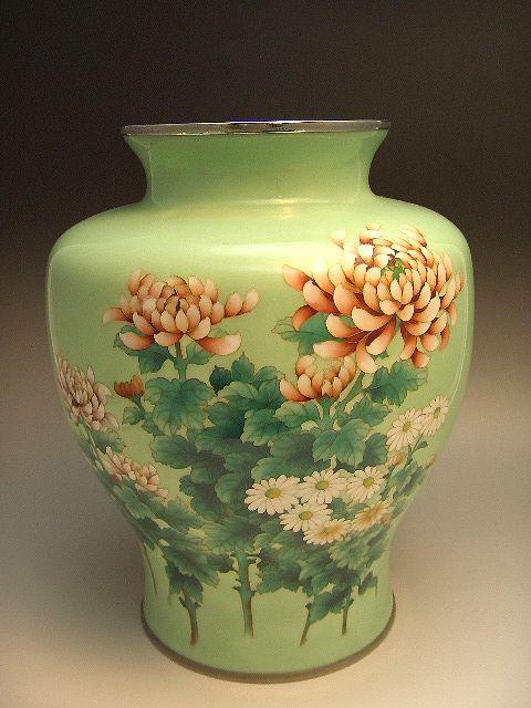 錦雲軒稲葉七宝製 菊図大花瓶