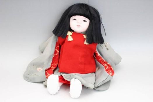 味岡映水作 市松人形 縮緬着物の女の子 約32cm