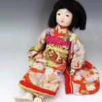 鳴き人形 女の子 正絹着物 55cm