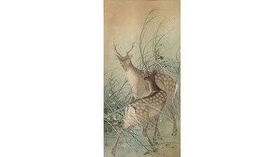 絹本軸装 秋草に鹿の図