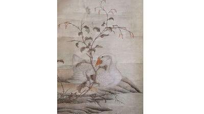 紙本軸装大幅 鵞鳥図