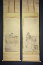 書画掛軸 紀九老(近江蕪村)人物画双幅