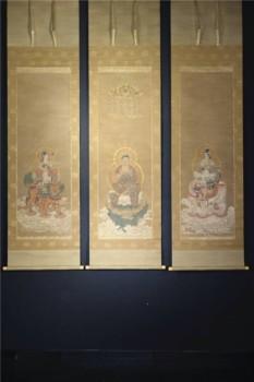 仏画掛軸 釈迦・普賢菩薩・文殊菩薩 三幅対