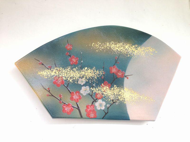 十二世坂高麗左衛門作 萩焼陶彩景草花図扇面組皿