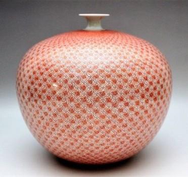米久和彦作 九谷焼赤繪風車文花瓶