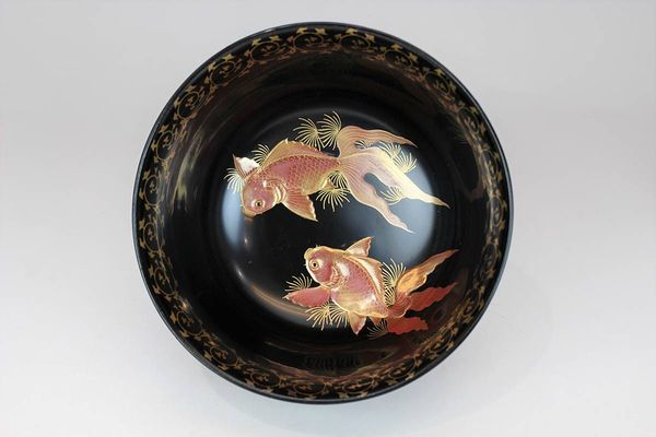 黒漆金魚図・菓子椀